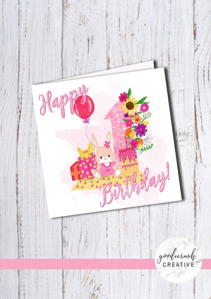 bella bunny girls first birthday card