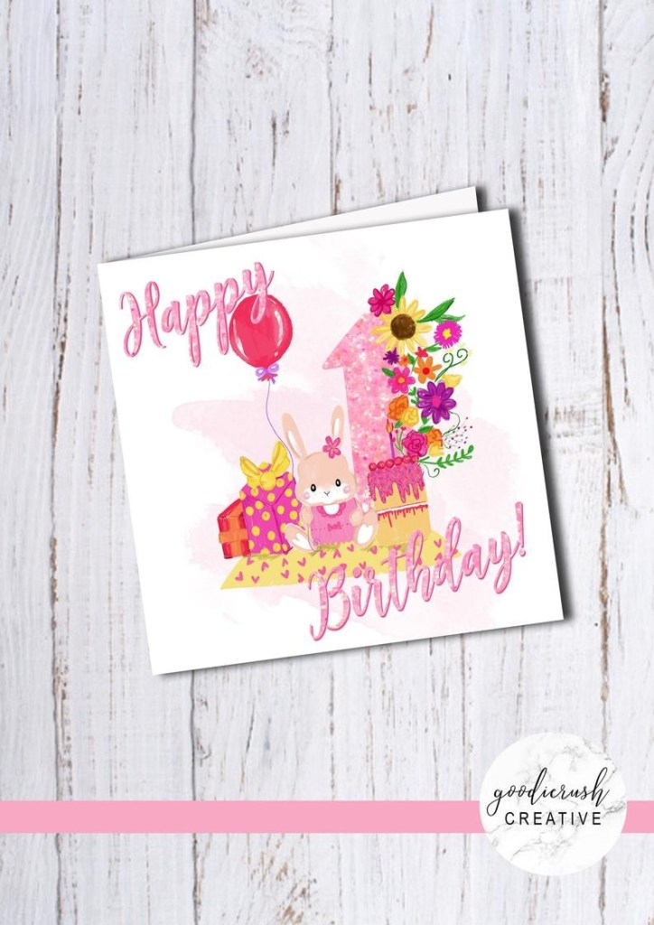 bella bunny girls first birthday card