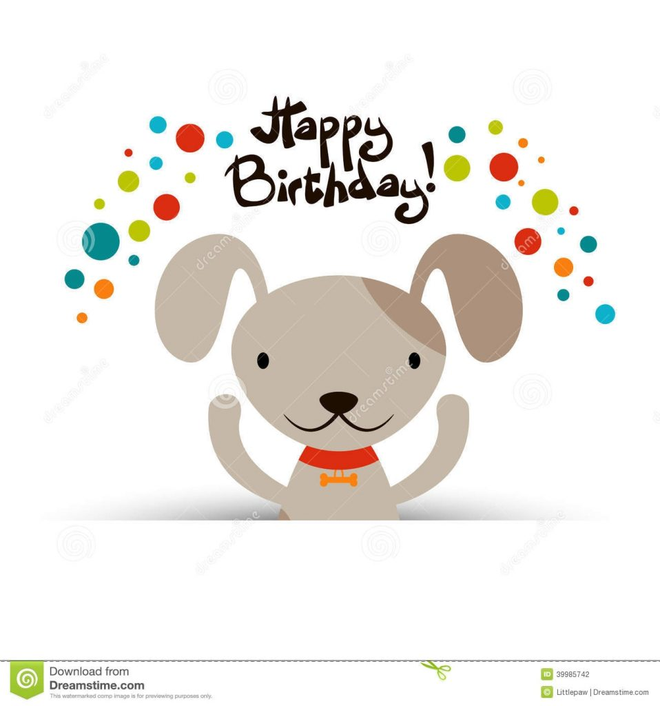 birthday card with cute dog stock vector illustration of