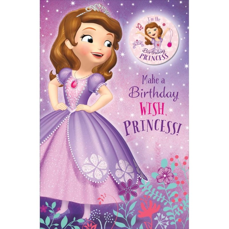 birthday princess sofia the first birthday card with badge