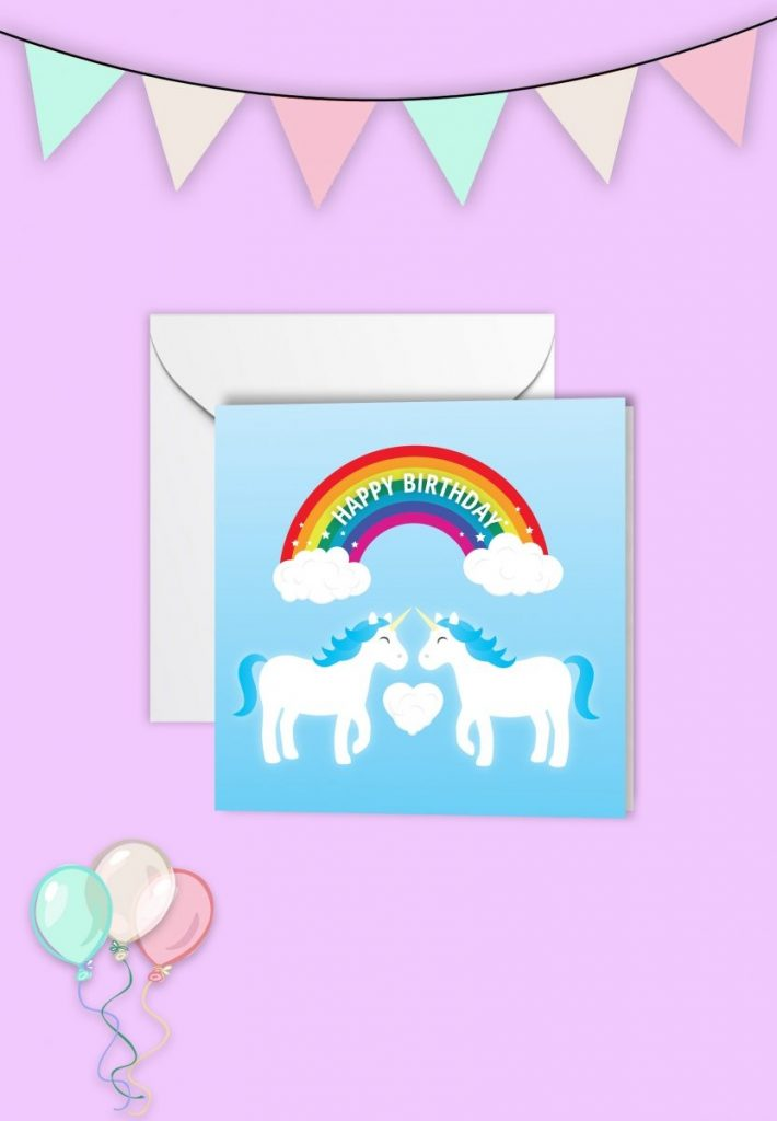blue unicorn birthday card