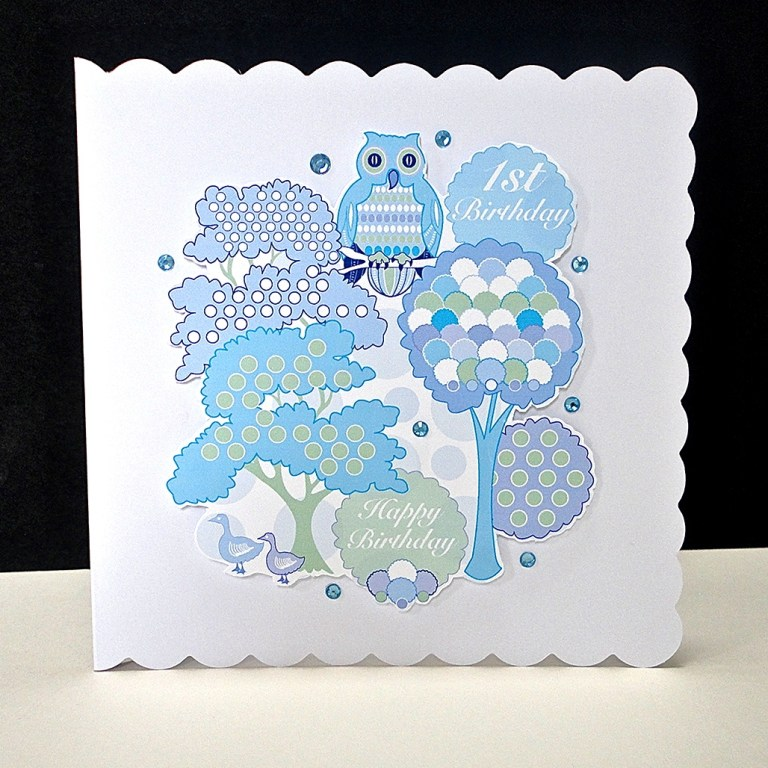 blue wise owl first birthday handmade card