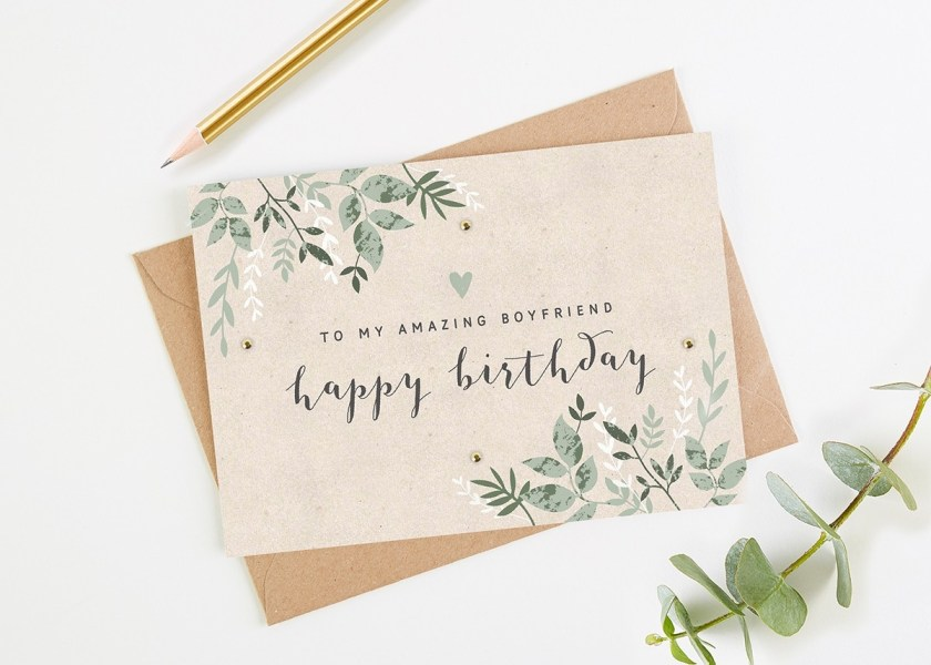 boyfriend birthday card green botanical