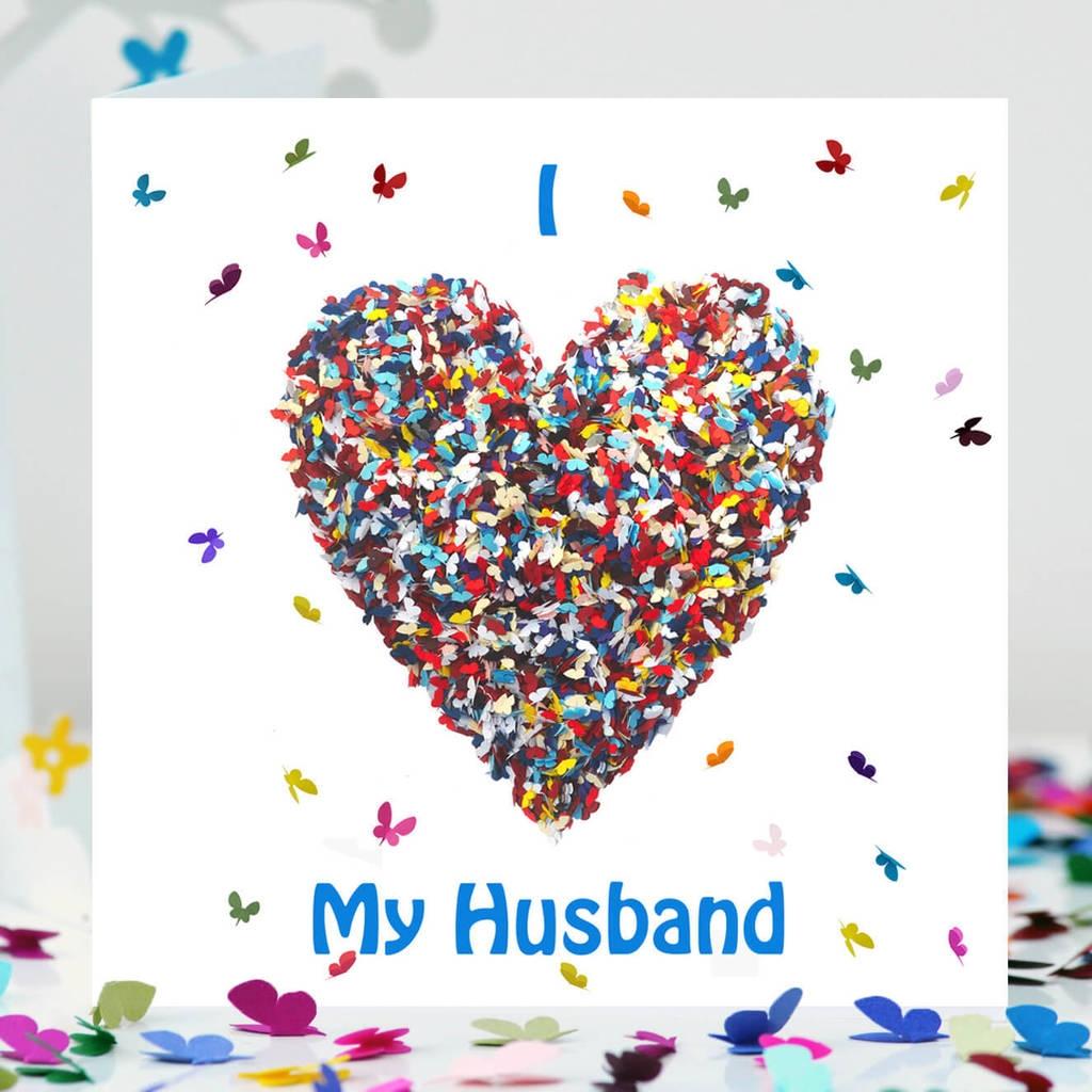 butterfly husband birthday card i love my husband card