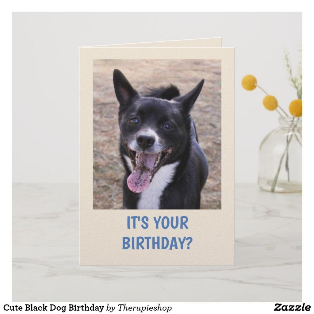 cute black dog birthday card zazzle the rupie shop
