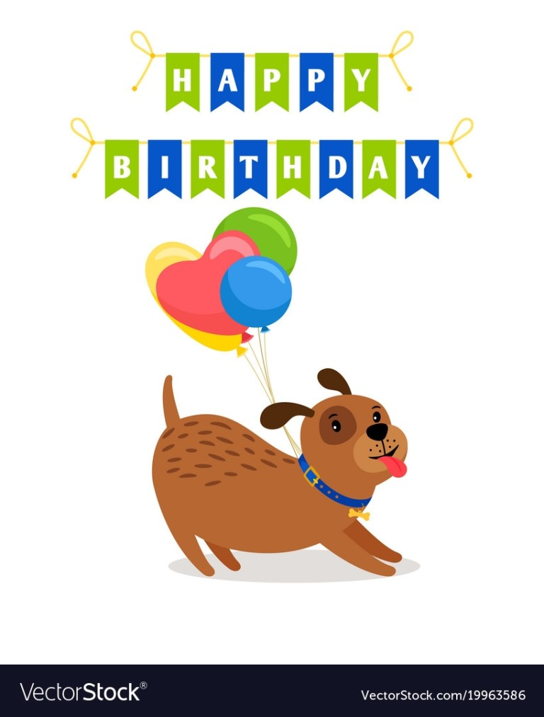 cute dog and balloons birthday card