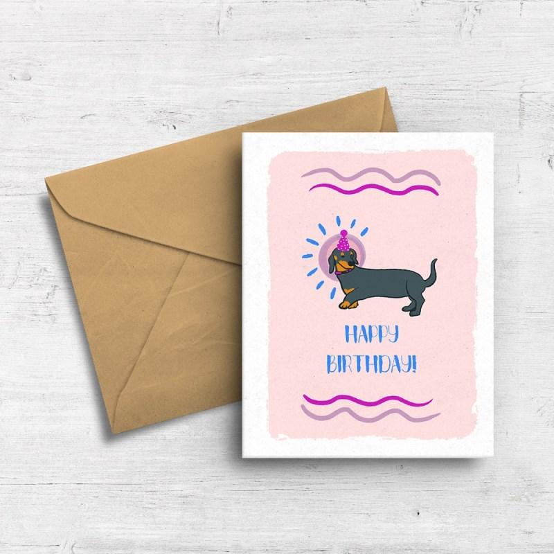dachshund birthday card squidly designs online store