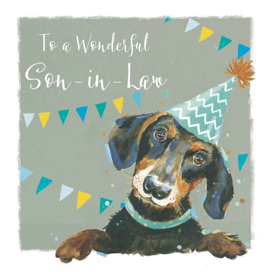 details about birthday card son in law dachshund sausage dog the wildlife ling design