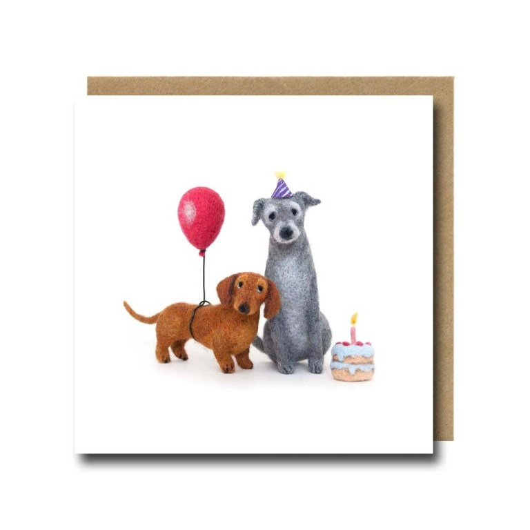 dog card dachshund birthday card sausage dog card dog lover funny cute needle felted dogs