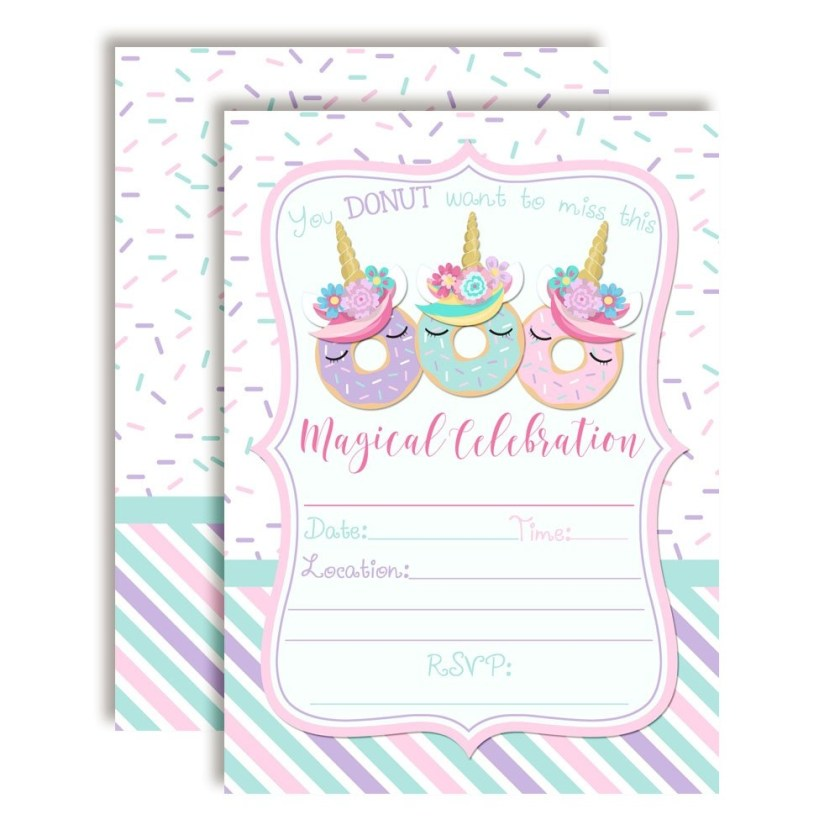 donut unicorn birthday party invitations