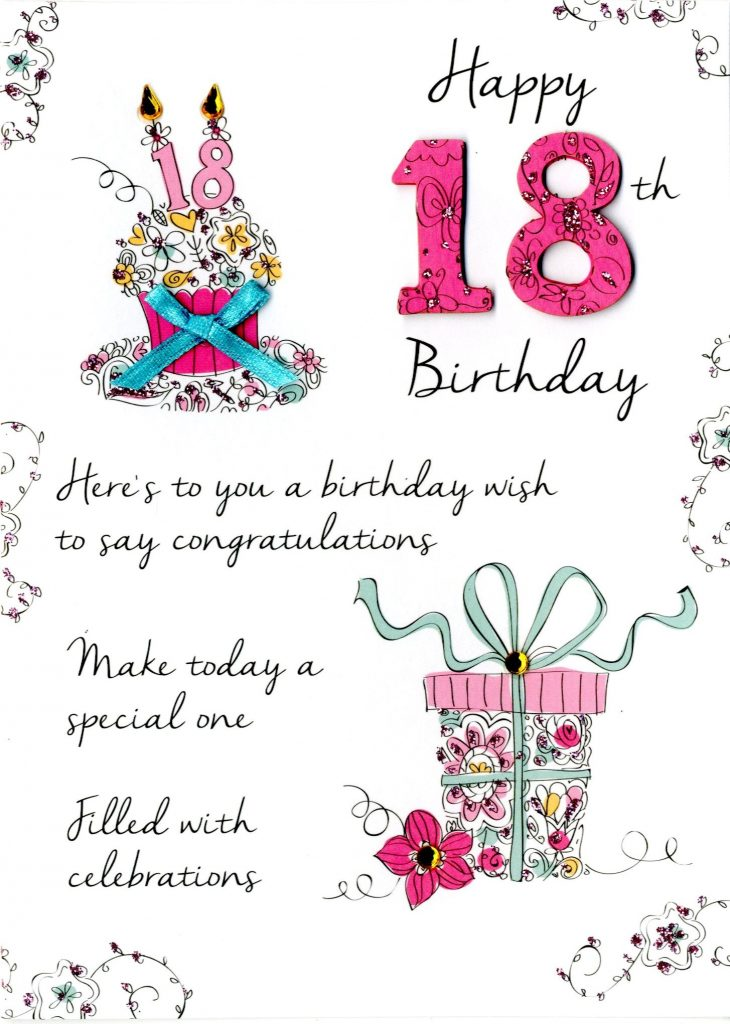 female 18th birthday greeting card