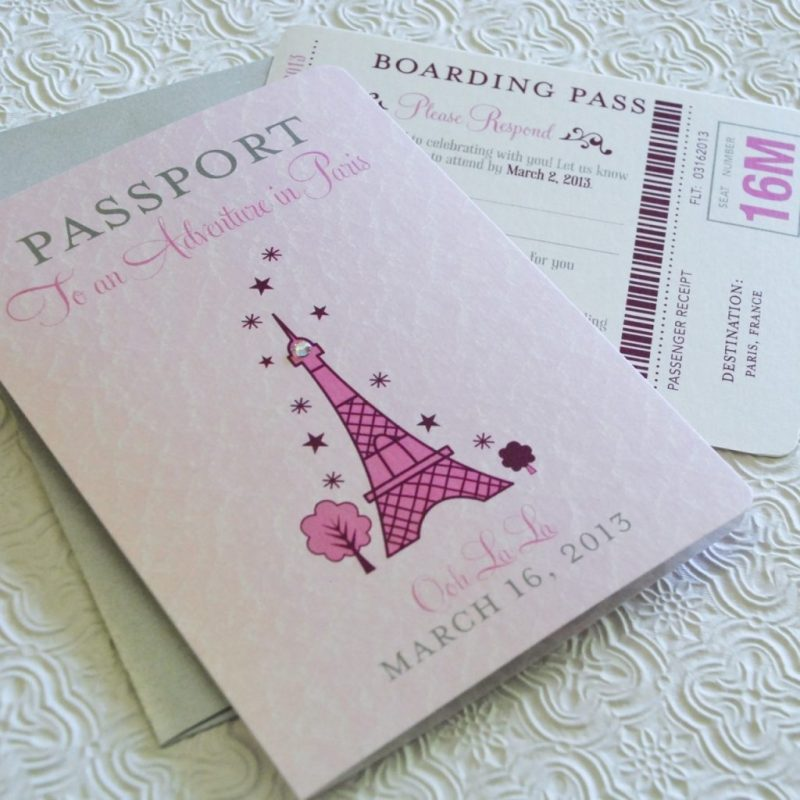first birthday passport to paris birthday invitation