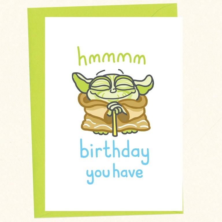 funny birthday card nerdy birthday card star wars birthday yoda birthday birthday you have cute yoda card