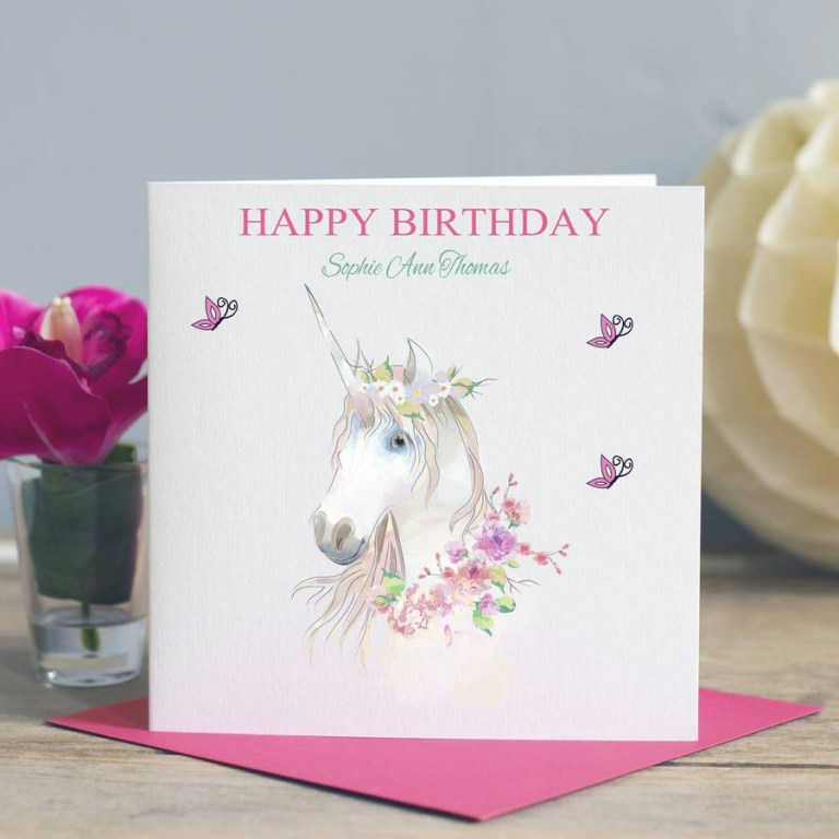 girls birthday card unicorn