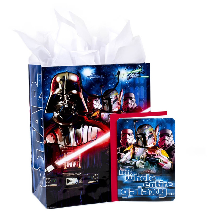 hallmark large gift bag with birthday card tissue paper star wars classic