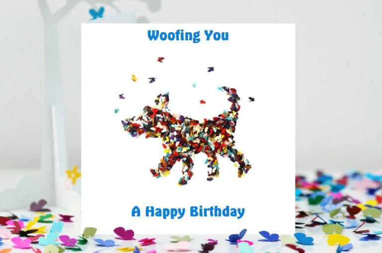 happy birthday butterfly dog card