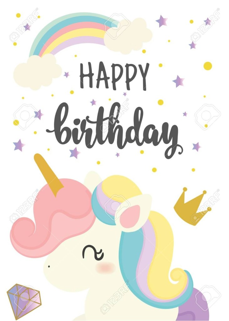 happy birthday card with cute unicorn greeting hand written