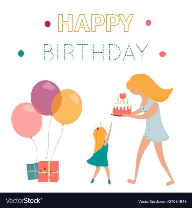 happy birthday greeting card with mom doughter