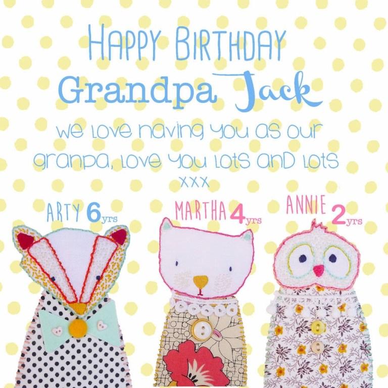 happy birthday nanny grandma grandpa card