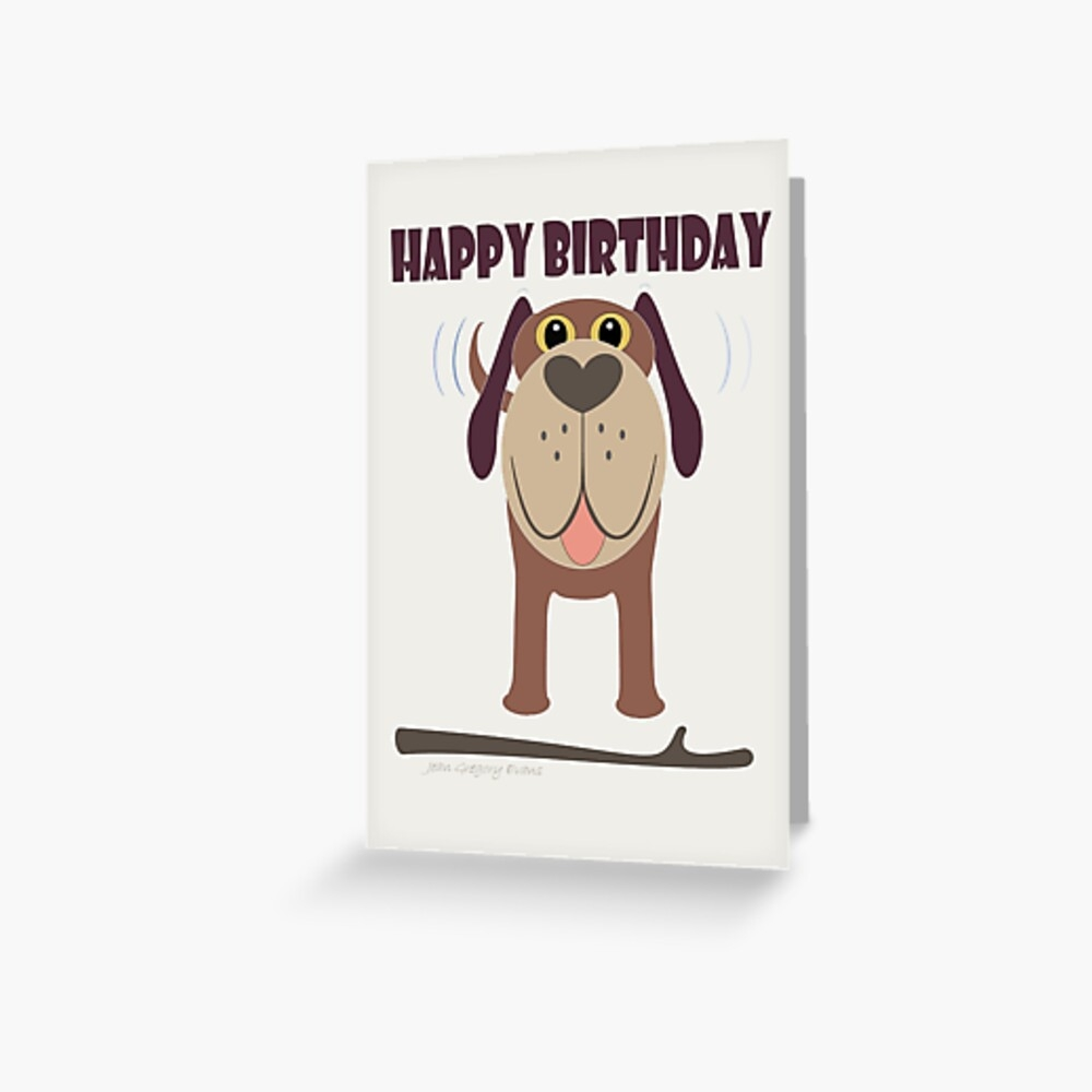happy birthday present from dog greeting card