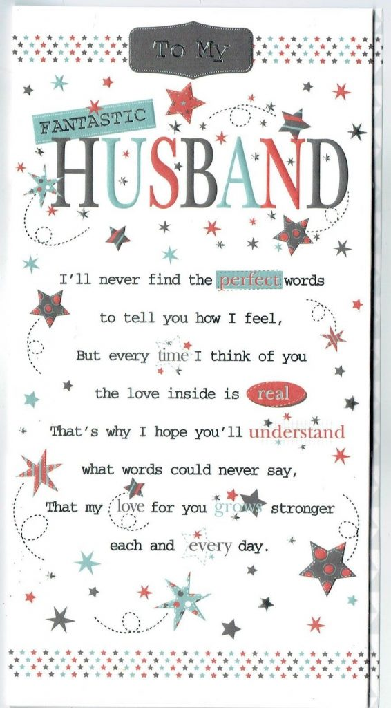 husband birthday card with sentiment verse and pop up verse