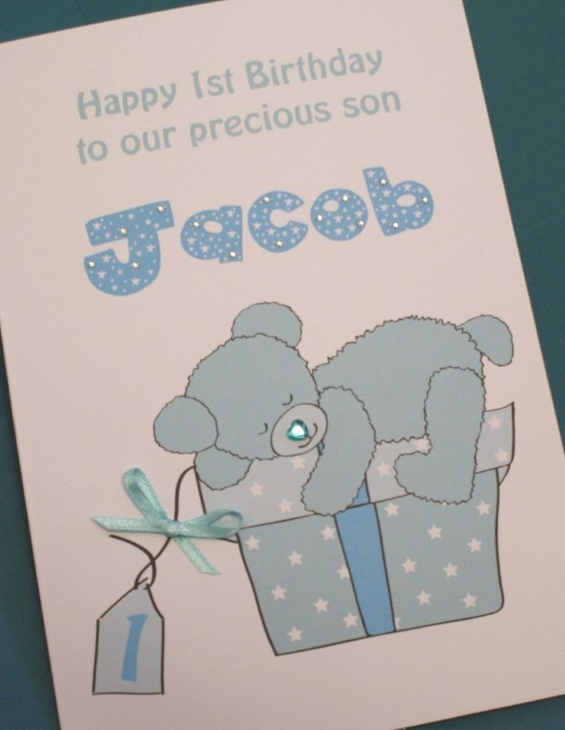 large a5 handmade personalised ba boy 1st birthday card son grandson nephew