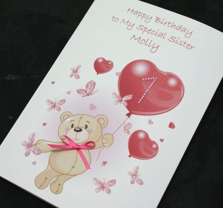 large handmade personalised birthday card daughter grandaughter niece sister