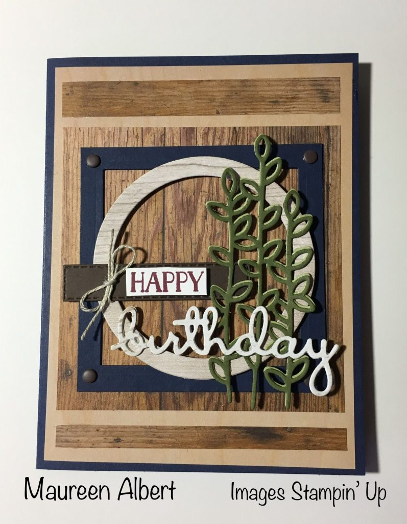masculine birthday card stampin up well said framelits