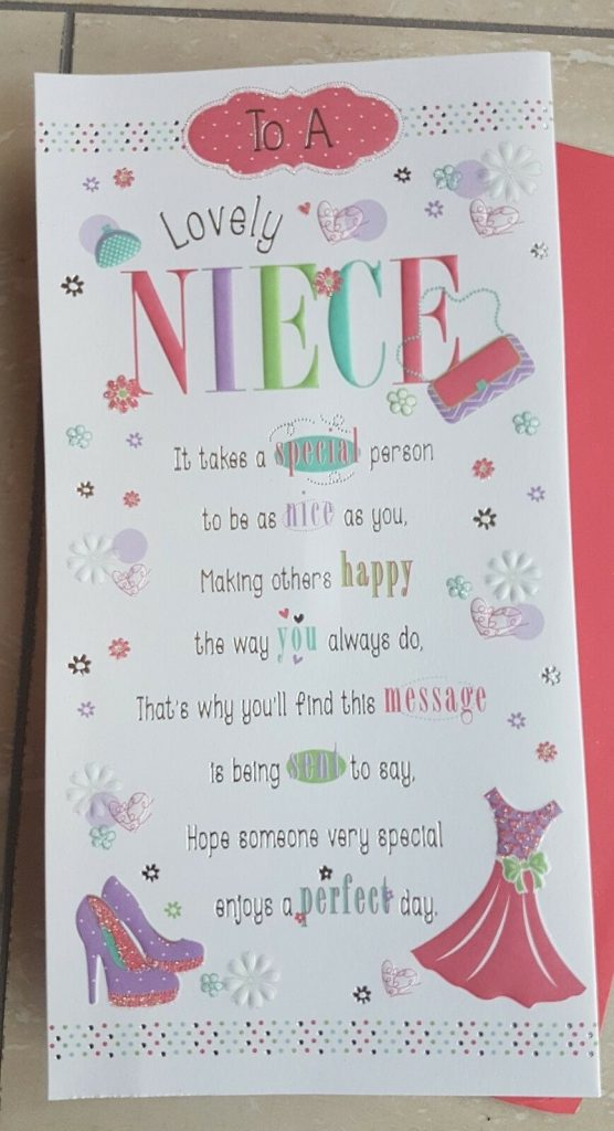niece birthday card lovely embossed sentiment verse and pop up centre