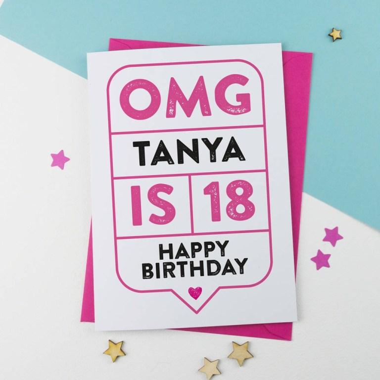 omg 18th birthday card personalised