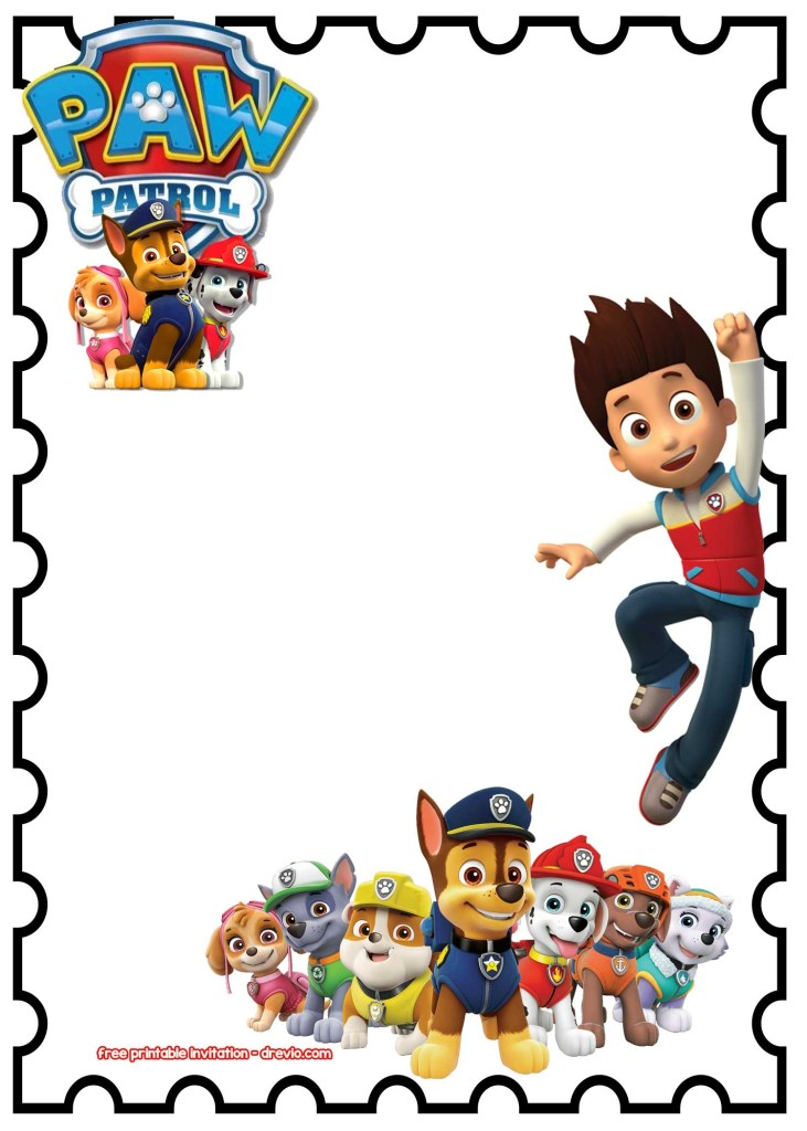 paw patrol invitation template blank magdalene project