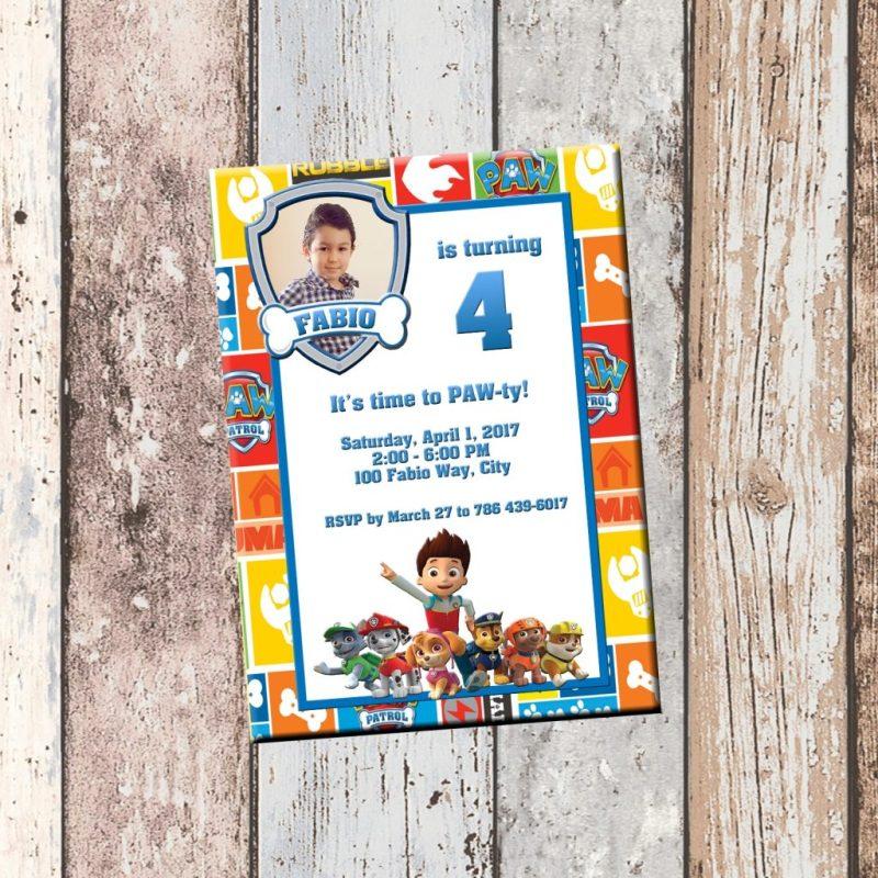 paw patrol personalized birthday invitation 1 sided birthday card party invitation paw patrol party from scg designs