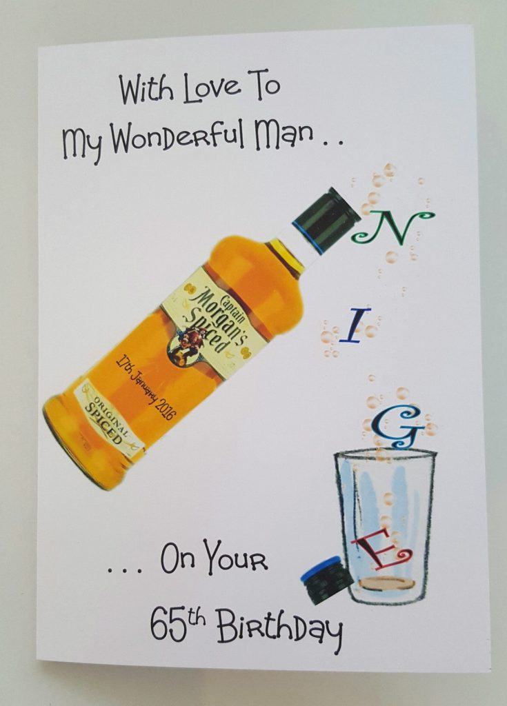 personalised birthday card morgans spiced rum husband any relation any year