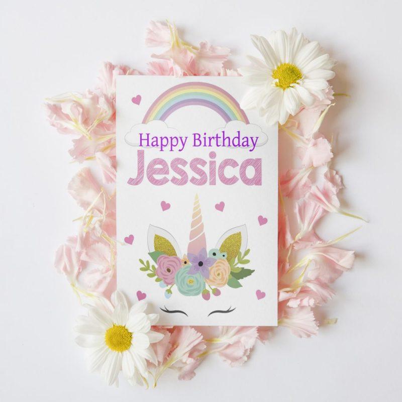 personalised childrens unicorn birthday card