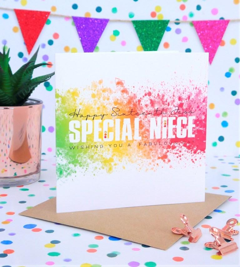 personalised handmade niece birthday card any age