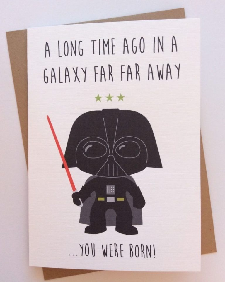 personalised handmade star wars birthday card darth vader quirky funny geeky