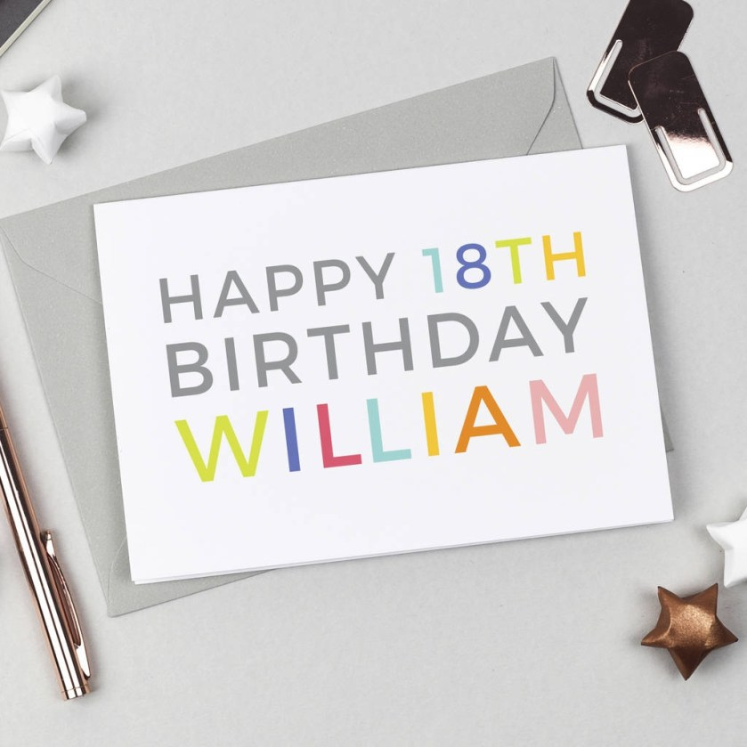 personalised happy 18th birthday card