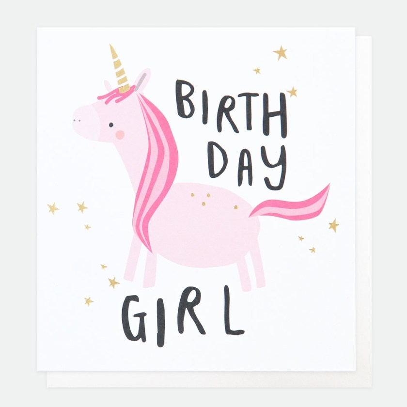 pink unicorn birthday girl card caroline gardner