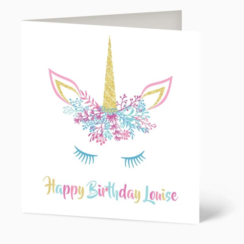 rainbow unicorn birthday card