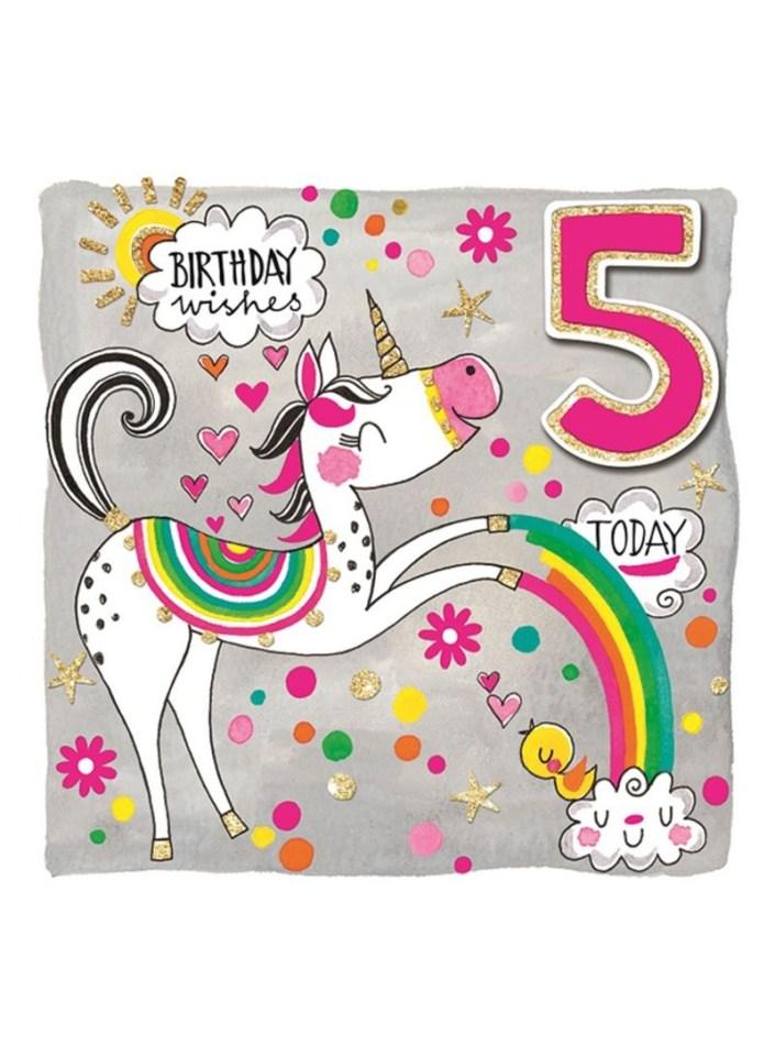shop rachel ellen designs 5th birthday unicorn greeting card 149 x 149 millimeter online in dubai abu dhabi and all uae