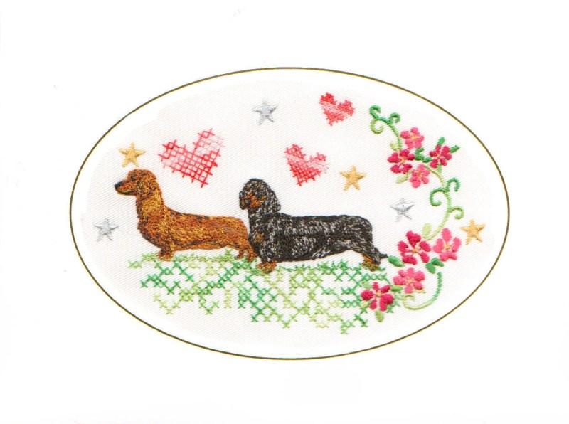 smooth haired dachshund birthday card birthday card embroidered dogmania 8 x 6 g7035