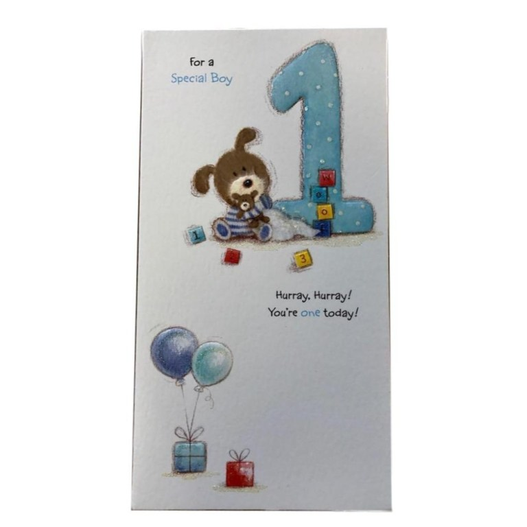 special boy adorable lots of woof 1st birthday card