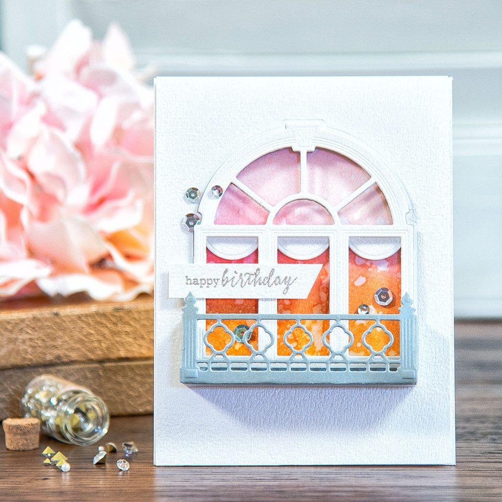 spellbinders decorative flower box birthday card yana