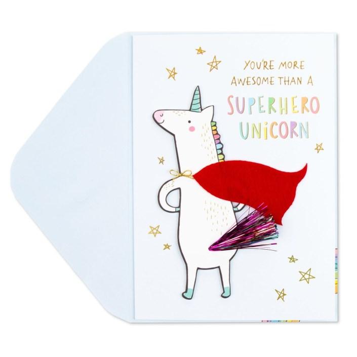 superhero unicorn birthday card