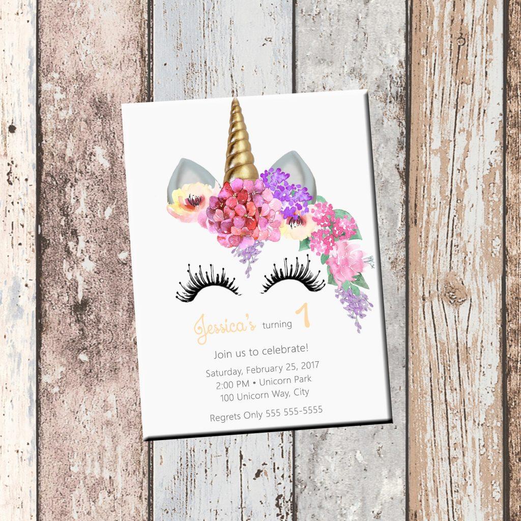 unicorn birthday personalized invitation 1 sided birthday card party invitation unicorn party