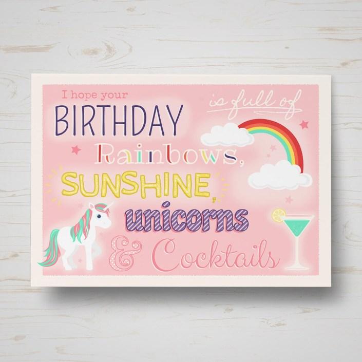 unicorns birthday card