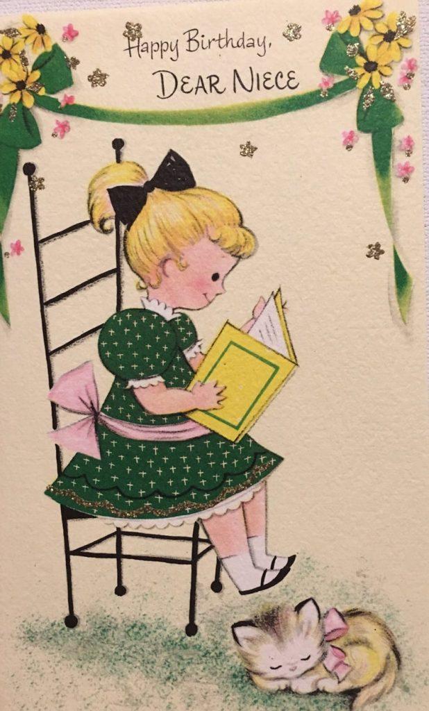 vintage birthday card niece reading book nos kitten glitter