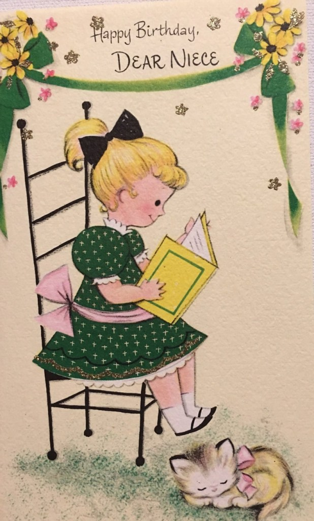 vintage birthday card niece reading book nos kitten glitter