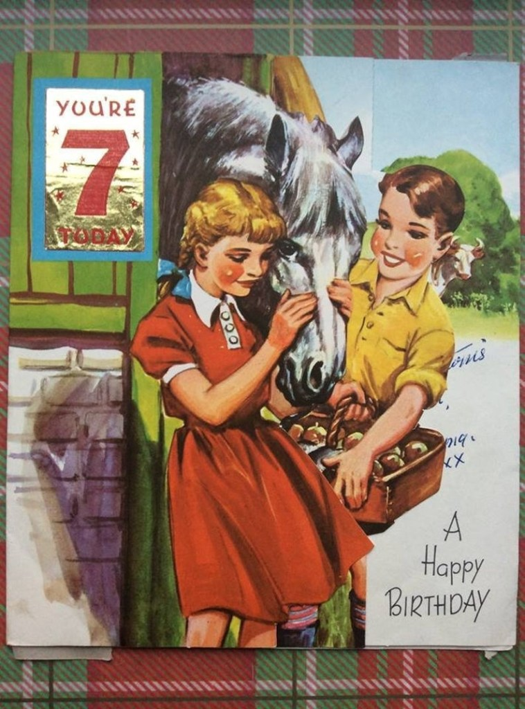 vintage birthday card pop up card vintage 3d card vintage farm horse print card seven today horse birthday card