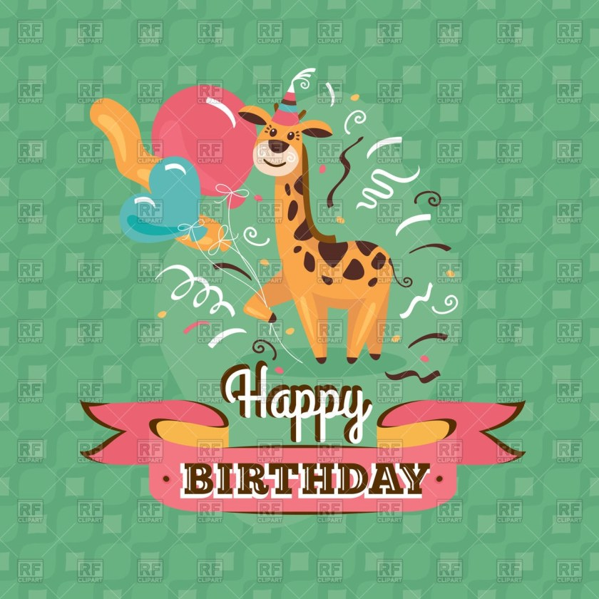 vintage birthday card with giraffe and balloons stock vector image